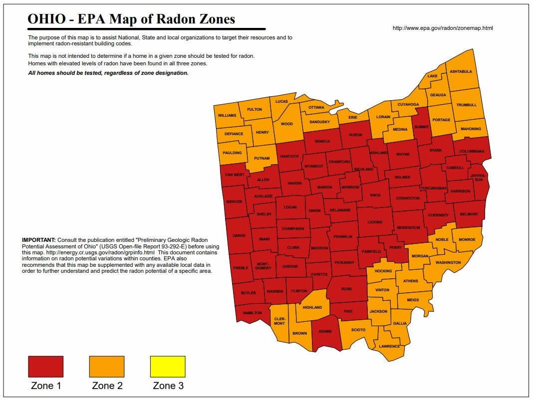 Ohio Radon Map Zones